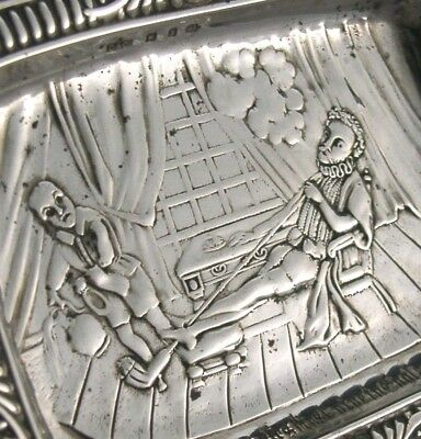 Unusual Victorian Sterling Silver Dish Sir Walter Raleigh Tobacciana Antique