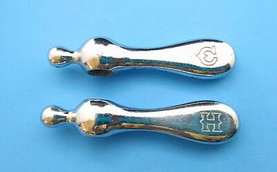 2 Vintage Water Faucet Knobs Handles HOT & COLD Chrome