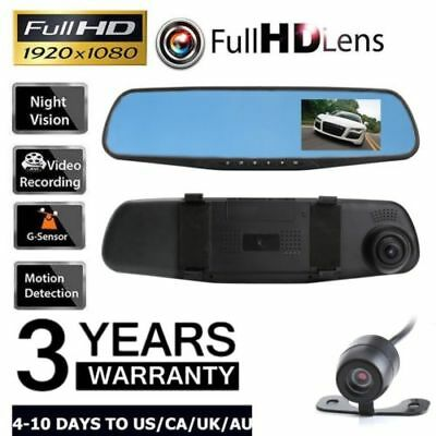 Car Dash Camera Dual Cam Vehicle Front Rear DVR Lens Video Recorder HD 1080P 2.8