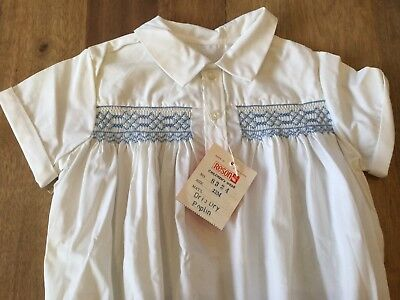 Delightful Vtg Baby Romper Suit - Smocked White Poplin - Made In Hong Kong - NWT