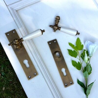 Brass Door Fittings like Antique, Front Door Set with Porzellanklinken PZ92