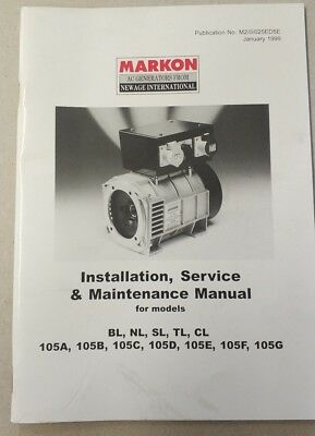 MARKON, Service & Maintenance Manual for models BL, NL, SL, TL, CL and 105