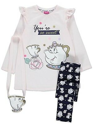 Disney Beauty And The Beast Girls  Top And Leggings Set (With Bag)
