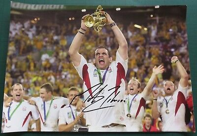 Martin Johnson Signed England Rugby Union 2003 World Cup Photo 16x12 AFTAL