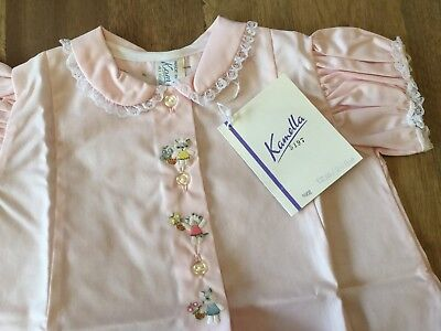 Vintage Baby Dress Pink Embroidered Front Made In Switzerland 1950's 1960's