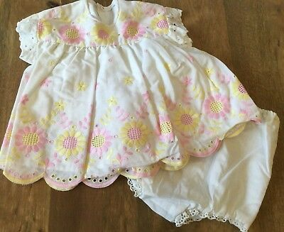 Delightful Vintage Baby Embroidered Two Piece White Dress Set Circa 60's/70's