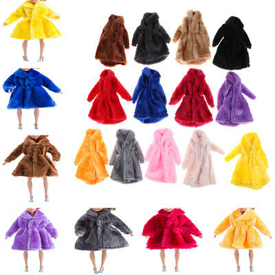 Barbie Dolls Fashion Fur Winter Warm Coat Flannel Outfit Doll Accessories New