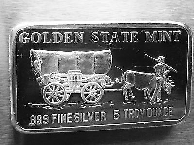 Horse and Carriage Golden State Mint  5 Troy Ounces oz .999 Fine Silver Art Bar