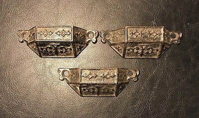 ANTIQUE 1869 EASTLAKE BIN PULLS / DRAWER PULLS - CAST STEEL SET of 3