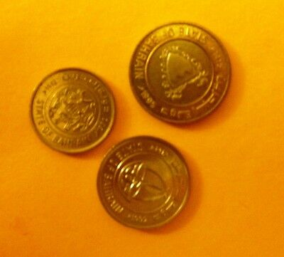 Bahrain coins - One 100 Fils; One 50 Fils, One; One 25 Fils