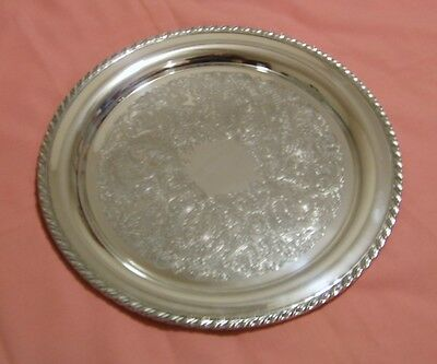 "Oneida Silver Plated Serving Tray Very Good Condition 14 1/2"" Diameter"