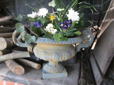 Chippy Shabby FRENCH Cast Iron PLANTER URN JARDINIERE Chic Trianon Blue IN/OUT