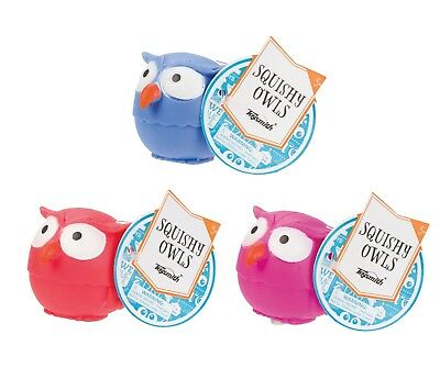 (3) Owl Stress Ball Tactile Squish Squeeze Fidget Special Needs Autism ADHD