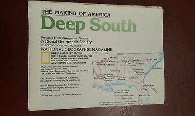 National Geographic Mag -supplement map - deep south  - free post