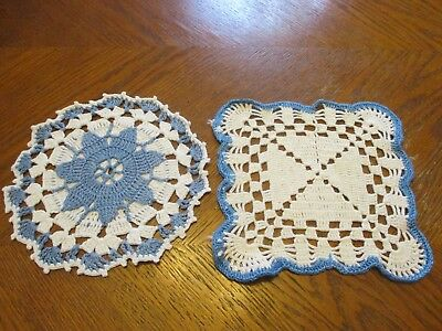 Pair of Vintage Hand Crocheted Hot Pads - Blue & White
