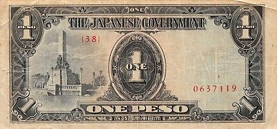 Philippines 1 Peso, Japanese Government Occupation WWII  circulated