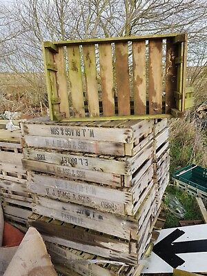 Vintage shabby chic wooden potato chitting trays crates