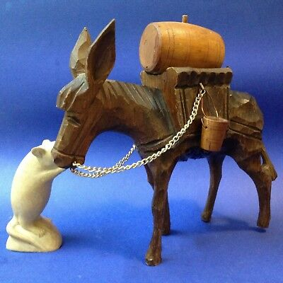 Retro Kitsch - Large Spanish Carved Wood Donkey with Barrel & Buckets - 24cm T