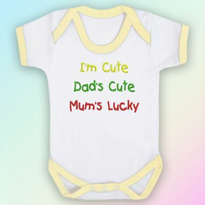 I'm Cute, Dad's Cute, Mum's Lucky Embroidered Baby Vest Gift Mummy Daddy Parent