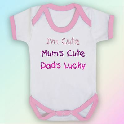 I'm Cute, Mum's Cute, Dad's Lucky Embroidered Baby Vest Gift Mummy Daddy Parent