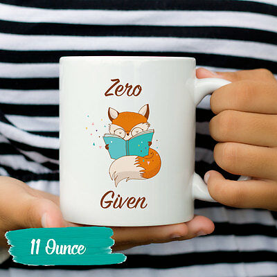 Zero Fox Given Coffee Mug Funny Fox Mugs for Coworker Gift Clever Gag Gifts Cup