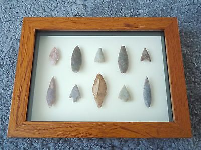 Neolithic Arrowheads in 3D Picture Frame, Authentic Artifacts 4000BC (0156)