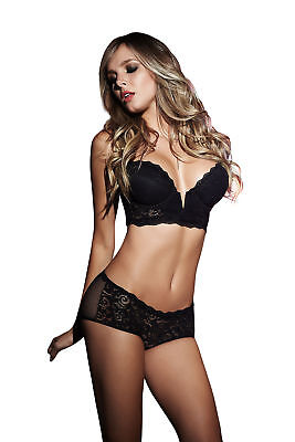 Mapale Plunging Black Lace Bra Knickers Set Sexy Womens Lingerie Underwear 8b1fd511a
