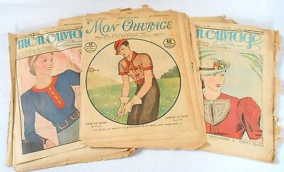 Vintage French lot of approx 32 mon ouvrage magazines papers