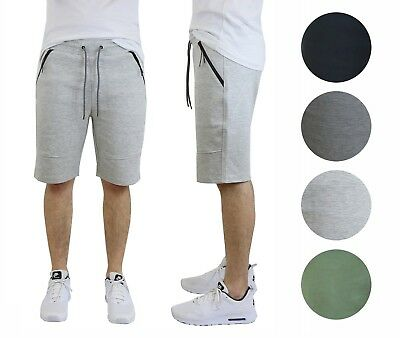 Mens Tech Fleece Shorts w// Zipper Pockets Marled Active Lounge Cotton Blend NWT