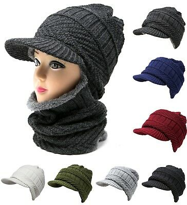 2 in 1 Cable Knit Winter Hat w/ Neck Warmer Mask Brim Beanie Fur Lining Unisex