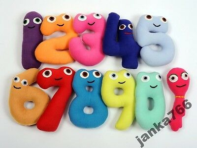 Handmade set of soft large numbers, cuddly, safe for all ages ( Numberjacks ).