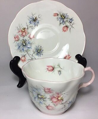 Vintage Rosina Queens Fine Bone China Teacup Saucer Pink Blue Flowers Preowned