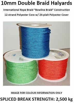 10mm Double Braid Yacht Halyard or Sheet **Custom Lengths, Colours & Finishes**