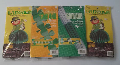 Vintage Lot of 4 Eureka St. Patrick's Day Holiday Table / Wall Decorations, NOS