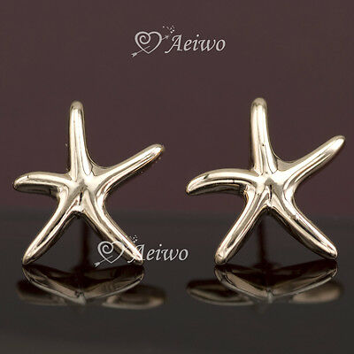 Earrings Stud 9K Gf 9Ct Solid Rose Gold Filled 10Mm Sea Star