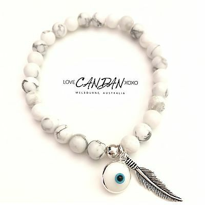 Sterling Silver 925 Evil Eye Howlite Stone Bracelet With Angel Feather Charm
