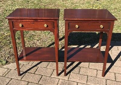 Pair Of Hepplewhite Style Mahoghany Side Tables By Southampton