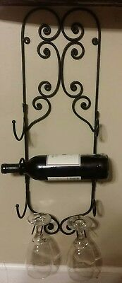 Wine Rack Metal Folding Wall Mounted Holds 3 Bottles 2 Glasses