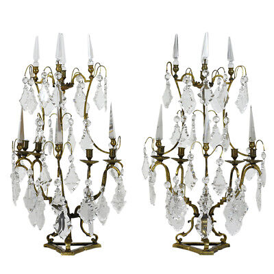 French 1800s Bronze & Crystal Pair of Girandoles Beautiful Details