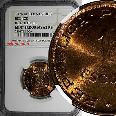 Angola Bronze 1974 1 Escudo MINT ERROR NGC MS63 RB ROTATED DIES SCARCE KM# 76