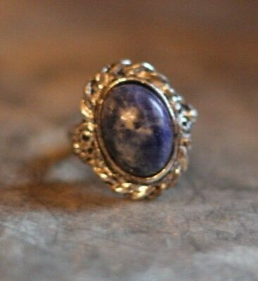 """Vintage Texture Silver Tone Cabochon """"Marble"""" Blue Stone Ring"""