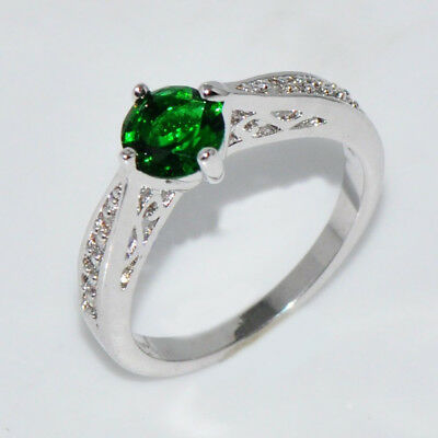 SALE Green Topaz Gemstone Crystal Silver Filled Ring US Size 8 New