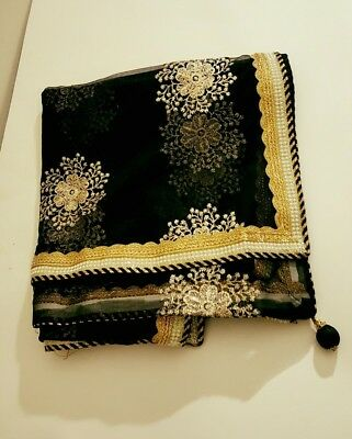 USA black dupatta ready made embroidered
