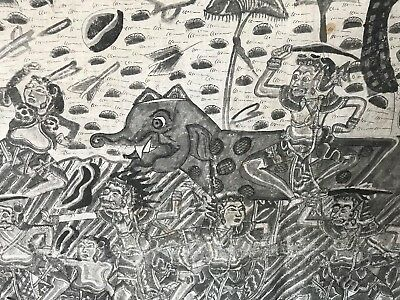 Old Balinese Large Black & White Painted Mural   …beautiful display & collection