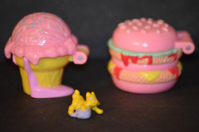 Vintage Mattel MIMI & GOOGOOS Polly Pocket Style BURGER, ICECREAM CONE AND PUPPY