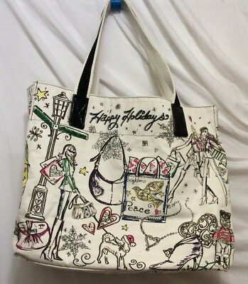 Brighton Tote White Multi-Color Christmas Graphic Canvas Happy Holidays