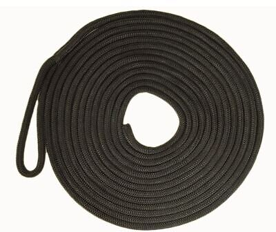 Mooring Rope Black 16 Plait Polyester UV Stabilised 10mm x 6M Dock Line
