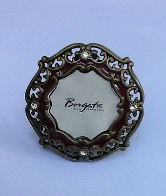 Jay Strongwater Mini Frame w/Clip or Stand Matte Gold Burgundy Enamel Crystal