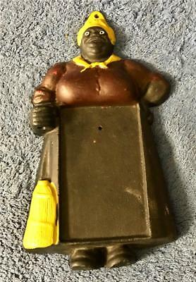 """Vintage Cast Iron Mammy 10 1/4"""" T Note & Pencil Holder Plaque - Made in U.S.A."""