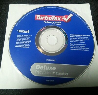 Intuit TurboTax Deluxe 2006 for PC, Mac - Free USPS First Class Ship - PN362549